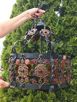 Vtg Feders Mid Century Chandelier Mexican Wrought Iron Light Fixture Blown Glass