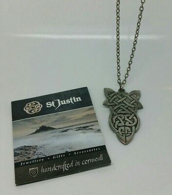 St Justin Pewter Celtic knot Necklace.