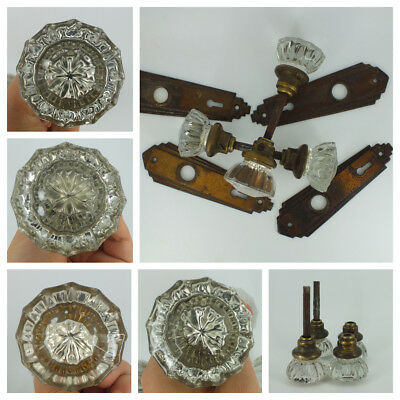 4 Antique 12 Point Crystal Glass/  Door Knobs w/ Brass & Face Plates