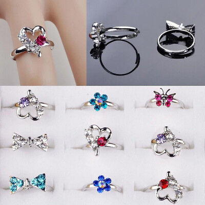 Pretty Lovely 10 PCS Adjustable Girls Jewelry Ring Crystal Fashion Kids