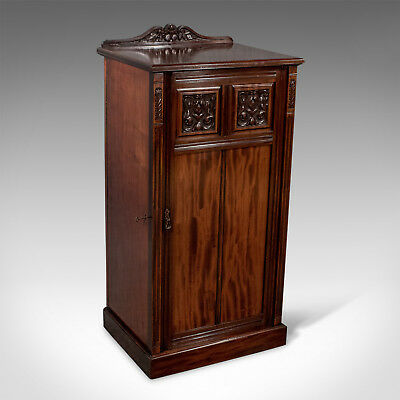 Antique Quality Large English Victorian Music Side Cabinet - Fine Mahogany c1900