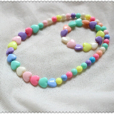 2017 Bracelet Piece Necklace Love Wholesale Suit Girls Kids Acrylic Jewelry