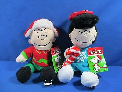 2016 Peanuts Charlie Brown & Lucy Musical Christmas Holiday Plush Stuffed Toy Nw