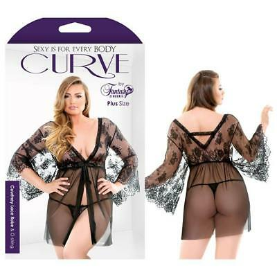 Curve Courtney Lace Robe & G-string - Adult Lingerie - Sexy Lingerie - Robe a...