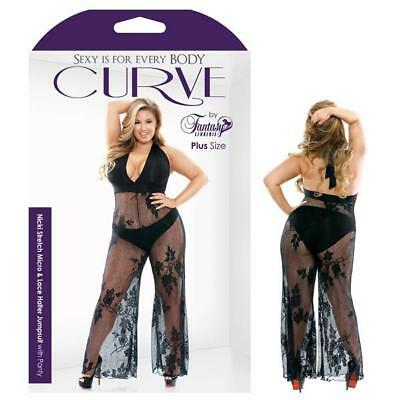 Curve Nicki Stretch Micro & Lace Halter Jumpsuit With Panty - Adult Lingerie ...