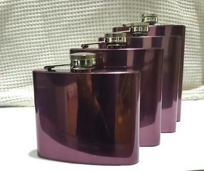 5,6,7 & 8oz Hip Flask Stainless Steel Pocket Flasks-Multi Coloured -Free Uk Post