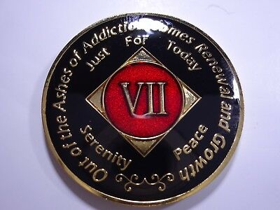 NA Black Red Coin 7 Year Tri-Plate Narcotics Anonymous Medallion +Capsule&Stand
