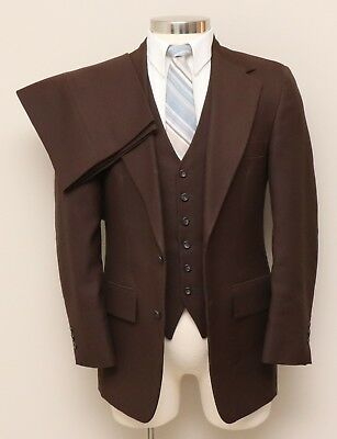 Vintage Mens 36R Botany 500 3 Piece Brown Suit