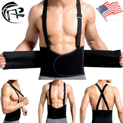 Heavy Weight Lift Lumbar Lower Back Waist Support Belt Brace Suspenders Work US