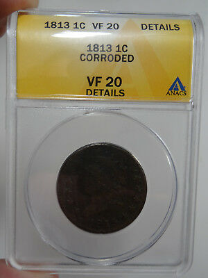 1813 Classic Head Large Cent ANACS VF 20 details - free shipping