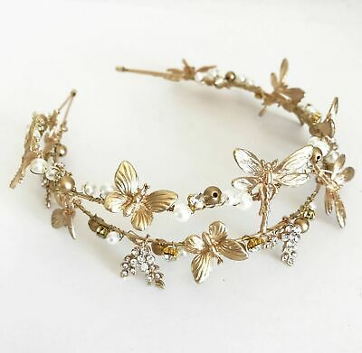 Fascinator Metal Butterfly/Dragonf Headband - Gold