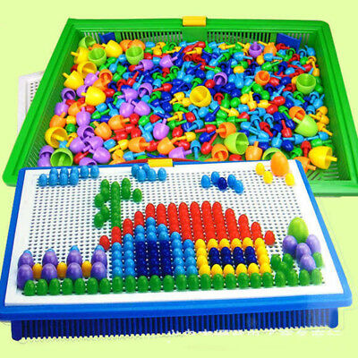 Kids Boys Creative Children Puzzle Peg Board 296 Pegs Educational Toys DIY Gift