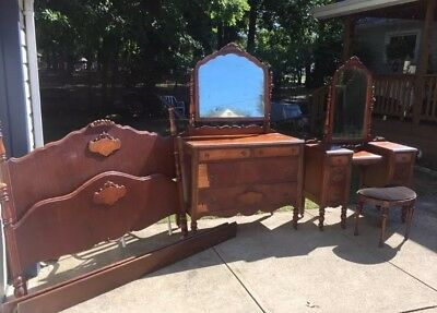 VINTAGE 3 Piece Antique Wooden Bedroom Set; Dresser, Vanity, and Bed Frame