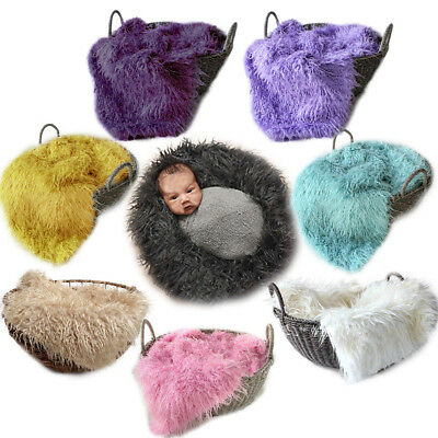 50*80cm Baby Boy Newborn Photo Blanket  Fur Photography Photo Props Background