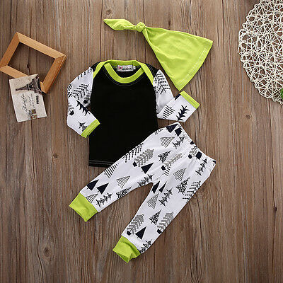 AU Stock Newborn Baby Boy Long Sleeve Tops T-shirt+Pants+Hat Outfits Clothes Set