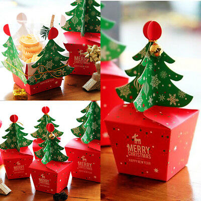 5/10pcs Merry Christmas Tree Bell Party Paper Favor Gift Sweet Box Carrier Bags