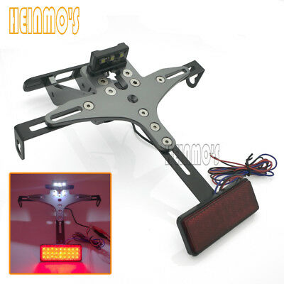 Motorcycle Adjustable License Number Plate Holder Bracket LED Light for Yamaha