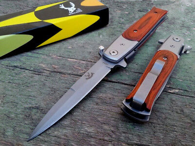 "8.75"" BONE EDGE Italian Stiletto Spring Assisted Tactical Pocket Knife Wood New"