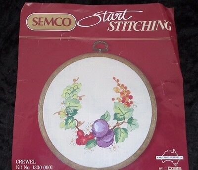 CREWEL EMBROIDERY  KIT  SEMCO Start Stitching NEW