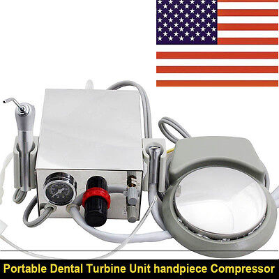 Portable Dental Air Turbine Unit Work With Air Compressor 2 Hole 3 Way Syringe