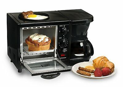 Elite Cuisine 3-in-1 Breakfast Center Black Oven Toaster Coffee Maker Egg Fryer