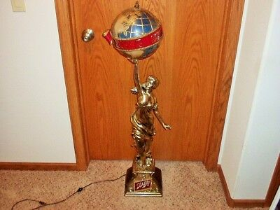 Vintage Schlitz Beer Sign Colombian Princess Lady Statue Globe Lamp 1970's.