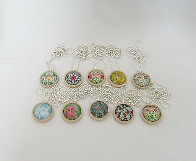 10 x Handmade Wooden Round Cabochon Pendants - Bulk Lot - Wholesale