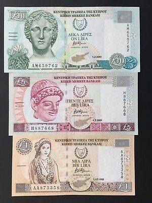 Cyprus £10 £5 £1 Pounds P60 P61 P62 Dated 1998 & 2001 EF & UNC