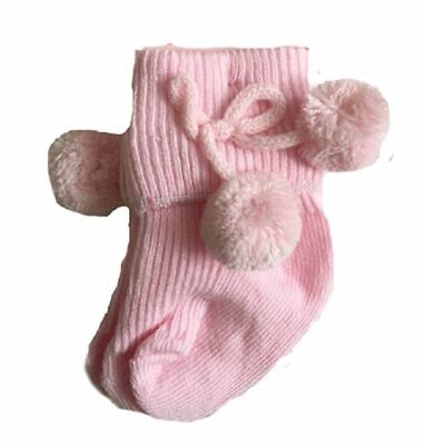 """Baby ANKLE Pom Pom socks"" turn down babies toddler Boy Girl 0-18 Months"