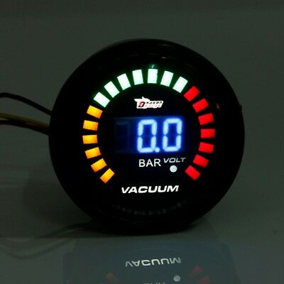 2'' 52MM 20 LED DIGITAL AUTO CAR BOOST VACUUM RACING GAUGE METER SENSOR bar
