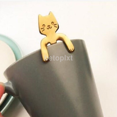 New Cat Handle Coffee Drink Spoon Tableware Kitchen Hanging Stainless Steel FR