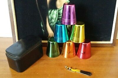 Vintage Retro Vermont Harlequin Anodised Cups in Case with Opener