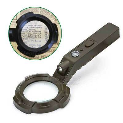 Handheld 8X Reading Magnifier 8 LED Magnifying Glass Loupe Money Check UV Light