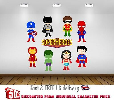 SuperHeroes Kids Bedroom Vinyl Decal Wall Art Stickers - 9 Character SET - S3