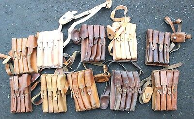 Vintage Serbia Serbian Army Leather Magazine Ammo Shoulder Pouch Bag