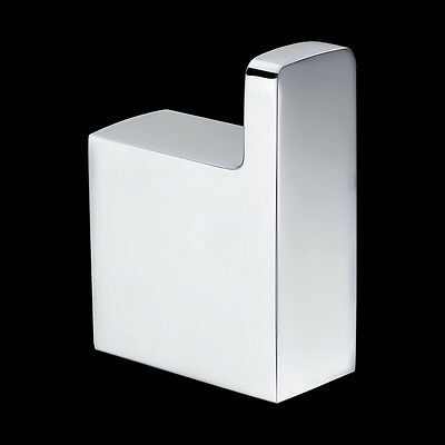 Bathroom Square Stylish Wall Mounted Single Robe Hook Brass Chrome