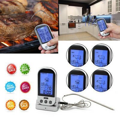 Digitales Bratenthermometer Funk Grillthermometer Fleisch-Thermometer wireless