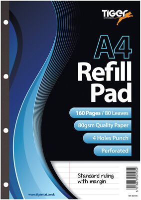 A4  Refill Pad/160 Pages/80Gsm Paper/4 Holes Punched/perforated/ruled+Margin