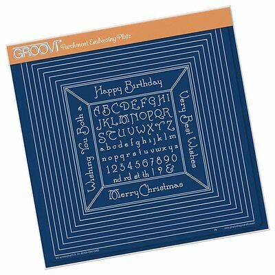 CLARITY STAMP GROOVI Parchment Embossing Plate NESTED SQUARES & ALPHABET 40538