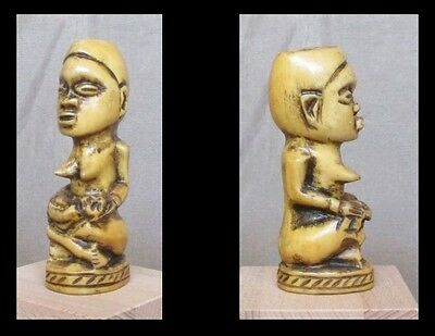 Old BAKONGO Carved Miniature Figure of a Maternity - CONGO - early 1900