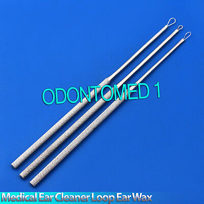 Set Of 3 Medical Ear Cleaner Loop Ear Wax Remover Tools Ear Pick Curette ENT New