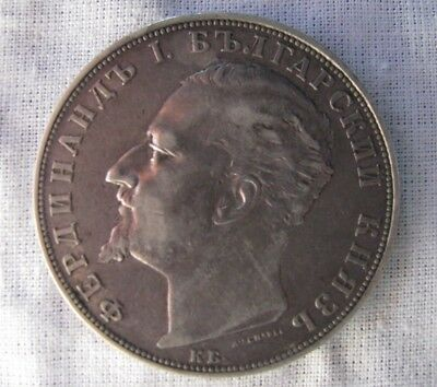 Bulgarian 5 leva 1894  900 silver coin  25 gr. Mintage: 1,800,000   Uncleaned