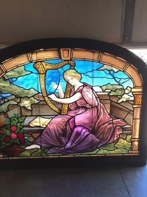 Antique Painted And Fired Lady Window With Harp