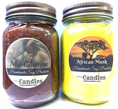Combo - African Musk & Nag Champa 16oz Jar WHOLESALE SCENTED Soy Candles
