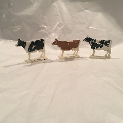 "1960's ANDERSON ERICKSON DAIRY 3 Advertising Hard Plastic Cows 2-1/4"" x 1-1/2"""