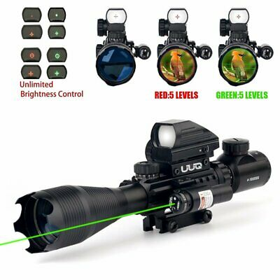 UUQ 4-16x50EG Tactical Rifle Scope W/ Green Laser and Holographic Dot Sight