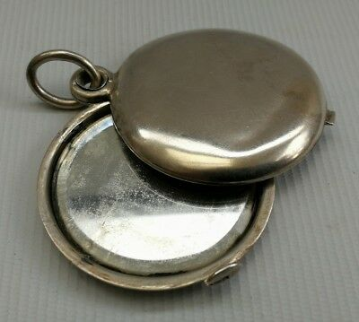 Vintage 800 Solid Silver Folding Pocket Mirror Compact Locket Pendant