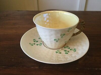Vintage Belleek Shamrock Cup and Saucer.
