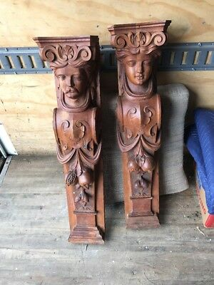 Antique Carved Walnut Figural Pediments 36 Inch