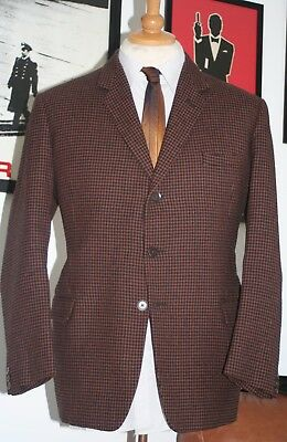 """Very Rare 1960's JOHN MICHAEL Kings Road 3-Button Dogtooth Suit C: 40/42"""" W: 32"""""""
